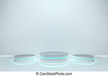 プロダクト, ライト, ディスプレイ, デザイン, プラットホーム, 立ちなさい, ブランク, glow., 六角形, 台座