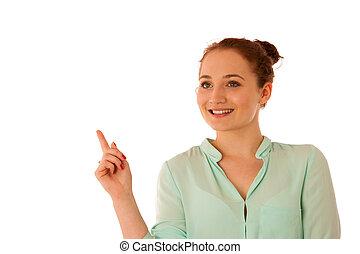 プロダクト, 女性ビジネス, 指すこと, スペース, コマーシャル, -, 考え, 間, 提出すること, 新しい, コピー, 持つこと
