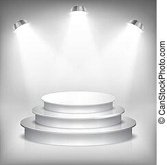 プロダクト, 照らされた, whi, 演壇, 場所, グロッシー, テンプレート, ステージ