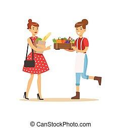 プロダクト, 販売, ベンダー, 仕事, 農場, 野菜, 木枠, 有機体である, 農夫, 自然, 持って来ること,...