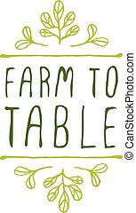 プロダクト, 農場, -, ラベル, バックグラウンド。, テーブル, 白