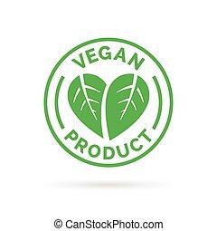 プロダクト, 食物, シンボル, vegan, ベクトル, アイコン