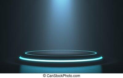 プロダクト, display., ライト, レンダリング, 立ちなさい, ブランク, 台座, 六角形, glow., 3d