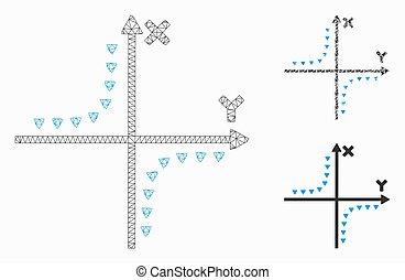 プロット, モデル, 噛み合いなさい, 点を打たれた, アイコン, ネットワーク, モザイク, hyperbola, ベクトル, 三角形