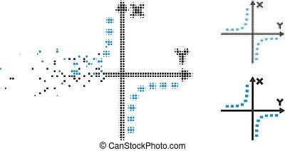 プロット, 点を打たれた, decomposed, halftone, pixelated, hyperbola, アイコン