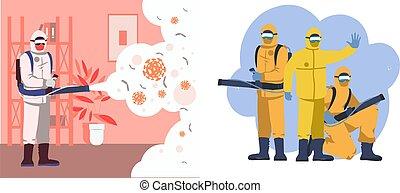プロバイダ, ヘルスケア, 場所, 遅い, すべて, 広がる, 十分, ベクトル, 殺菌剤, スプレーをかける, ...