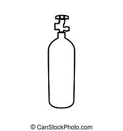 プロパン, ガス, cylinde, 色, 黒, アイコン