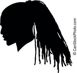 プロフィール, シルエット, dreadlocks, アメリカ人, 長い間, アフリカ, hair., 側, 男性, 黒, afroharren., 恐れる, 映像, ヘアスタイル, アフリカの男, silhouette.