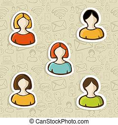 プロフィール, セット, 多様性, ユーザー, アイコン