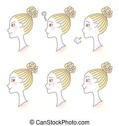 プロフィール, セット, expression., 女性, avatar., emotions., 美顔術, 女の子