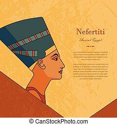 プロフィール, テンプレート, text., 場所, 女王, nefertiti, エジプト