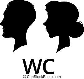 プロフィール, トイレ, 女性, wc, pictogram, 印。, 浴室, 顔, ベクトル, 女性, マレ, 紳士, washroom.