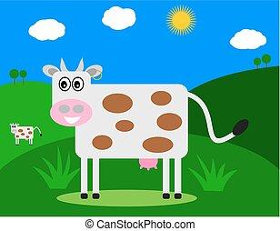 プロフィール, フィールド, 微笑, 牛