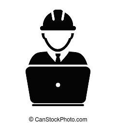 プロフィール, ヘルメット, サービス, pictogram, サポート, 労働者, イラスト, 人, ベクトル, avatar, hardhat, 建設, マレ, ラップトップ, アイコン, glyph