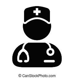 プロフィール, マレ, 医学, glyph, イラスト, 臨床医, 聴診器, 相談, 人, pictogram, アイコン, avatar, ベクトル