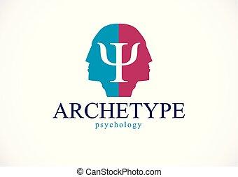 プロフィール, 人, 個性, 精神, 作成される, 概念, ダブル, problems., 頭, 心理学, ベクトル, 健康, 精神分析, 影, psychical, ロゴ, アイコン, 原型, ∥あるいは∥, design.