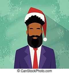 プロフィール, 年, ビジネスマン, アメリカ人, レース, アフリカ, 新しい, マレ, クリスマス, アイコン