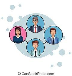 プロフィール, 映像, グループ, ビジネス 人々, avatar, ラウンド, アイコン