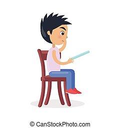 プロフィール, 男の子のモデル, 読まれた, 物語, 椅子, 妖精