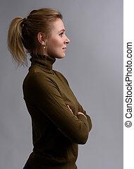 プロフィール, 美しい女性, 若い, 肖像画