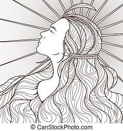 プロフィール, 美しい, ごう慢である, 長い間, intricately, 黒, white., hair.,...