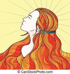 プロフィール, 美しい, ごう慢である, 長い間, intricately, hair., 女の子, カールされた