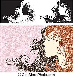 プロフィール, 美しい, 毛, 女の子, 長い間