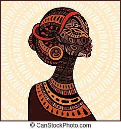 プロフィール, 美しい, woman., アフリカ