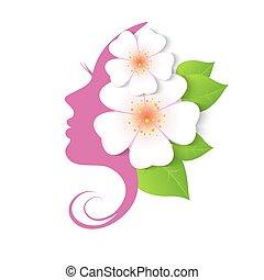 プロフィール, 花, 女