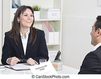 プロフィール, 説明, について, マネージャー, ビジネス, 彼女, 仕事インタビュー, 人