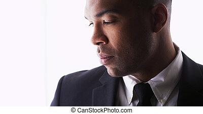 プロフィール, 身に着けている黒, スーツ, 人, ハンサム