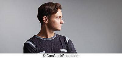 プロフィール, 隔離された, 灰色, 背景, 肖像画, ハンサム, 人