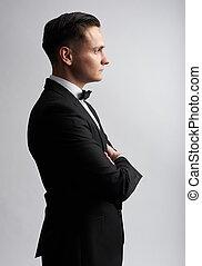 プロフィール, 隔離された, suit., 黒, 肖像画, セクシー, 人