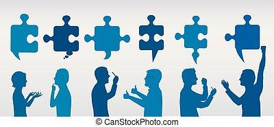 プロフィール, 青, 概念, success., ビジネス 人々, solution., 困惑, 解決, pieces., 作戦, 色, team., クライアント, 灰色, 問題, ジェスチャーで表現する, service.