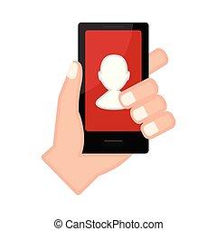 プロフィール, app, smartphone, 手を持つ