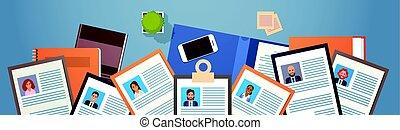 プロフィール, hire, 角度, ビジネス, 候補者, 人々, 上, カリキュラム, 求人, 仕事, ポジション, 机...