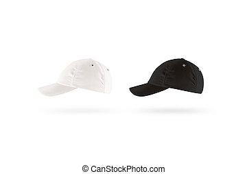 プロフィール, mockup, セット, 帽子, 野球, ブランク, 黒, 白, サイド光景