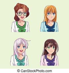 プロフィール, womens, セット, 若い, anime