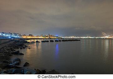 プロムナード, 都市, 夜
