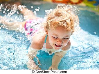 プール, わずかしか, blondie, 女の子, 水泳