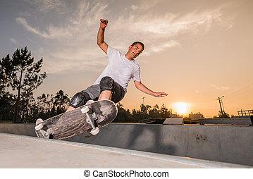 プール, コンクリート, skateboarder
