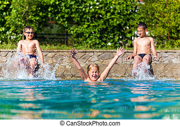 プール, 幸せ, 水泳, 子供