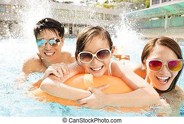 プール, 水泳, 遊び, 家族, 幸せ