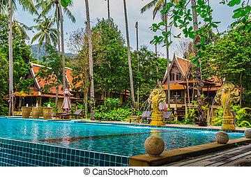 プール, 水泳, jungle., トロピカル