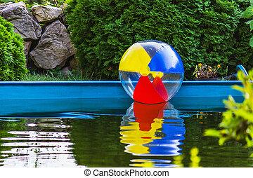 プール, 浮く, ボール, カラフルである