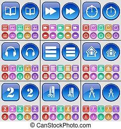 ヘアカット, compasses., 2, セット, ヘッドホン, 本, 家, 大きい, apps, buttons., ベクトル, ストップウォッチ, 多彩, 巻き戻し