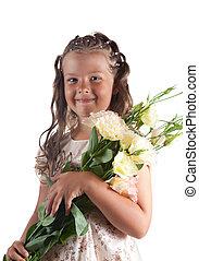 ヘアスタイル, おさげ, わずかしか, 保有物, 微笑, 花, 女の子