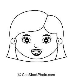 ヘアスタイル, シルエット, 顔, 前部, 微笑の女の子
