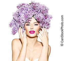 ヘアスタイル, ファッション, 美しさ, ライラック, モデル, 花, 女の子