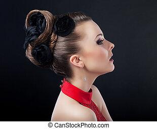 ヘアスタイル, ヘアカット, hairdo., 流行, 美しい